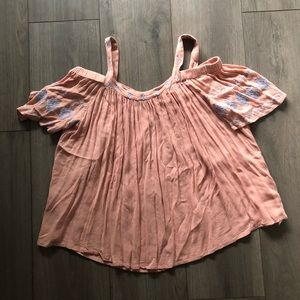 Light Pink Off the Shoulder Shirt- Size Small